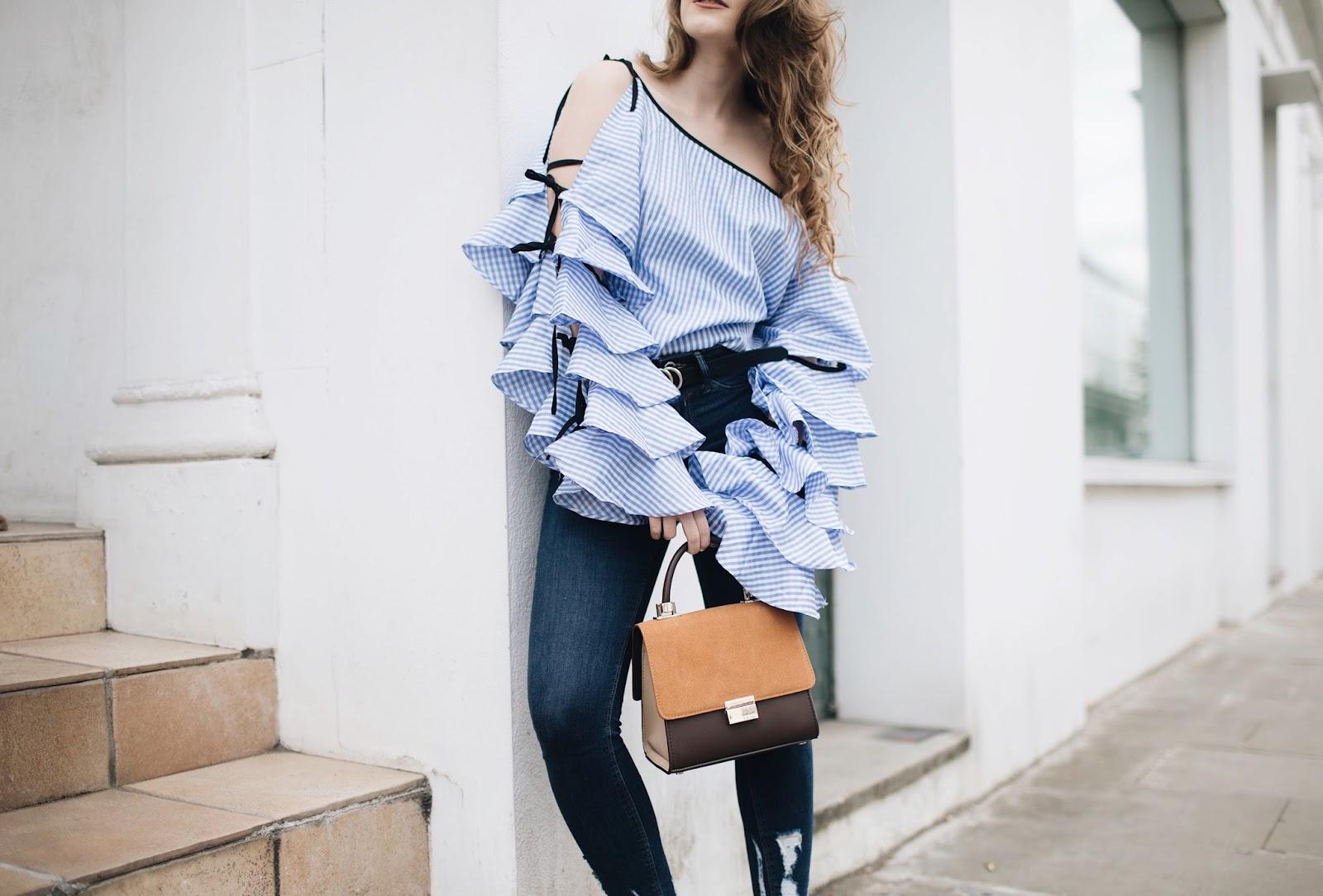 shein clothing, blue gingham shirt, gingham shirt women, ruffles galore, gingham blouse, london based fashion blogger, london based style blogger, london based petite blogger, london petite style blogger, petite blogger, petite style blogger, gingham trend, gingham top, gingham blouse, shein gingham top, shein gingham blouse, ruffled blouse, gingham ruffled top, zara sale, zara bag, gucci belt, gucci fake, style blogger, gucci dupe