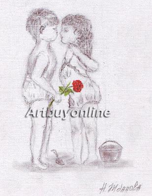 Valentines day print digital illustration