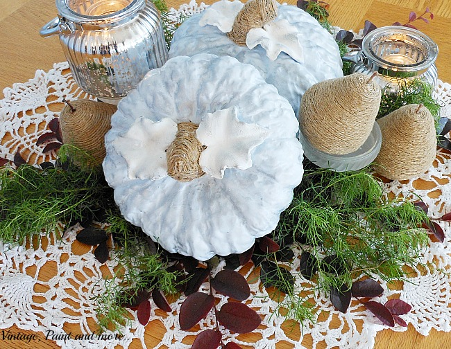 Vintage, Paint and more... diy painted ceramic pumpkins make a fall centerpiece along with twine wrapped pears and mercury candles