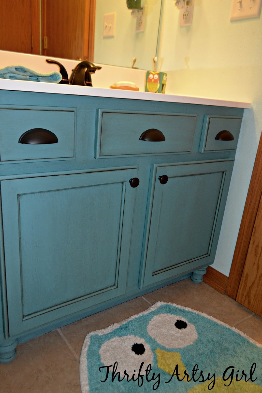 Painted Bathroom Vanity Thrifty Artsy Girl Builders Grade Teal Bathroom Vanity