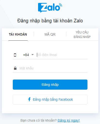 Đăng nhập Zalo bằng số điện thoại di động trên Máy tính g