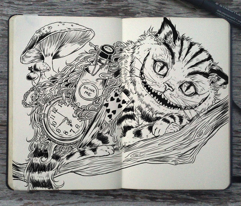 09-Cheshire-Cat-Gabriel-Picolo-365-Days-of-Doodles-www-designstack-co