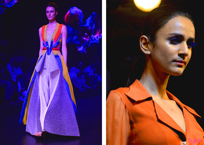 Fashion designer Amit Aggarwal showcases neon gowns under blue lights and a model wears blue mascara on her eyelashes on the ramp at Lakme Fashion Week at The St. Regis Hotel in Mumbai