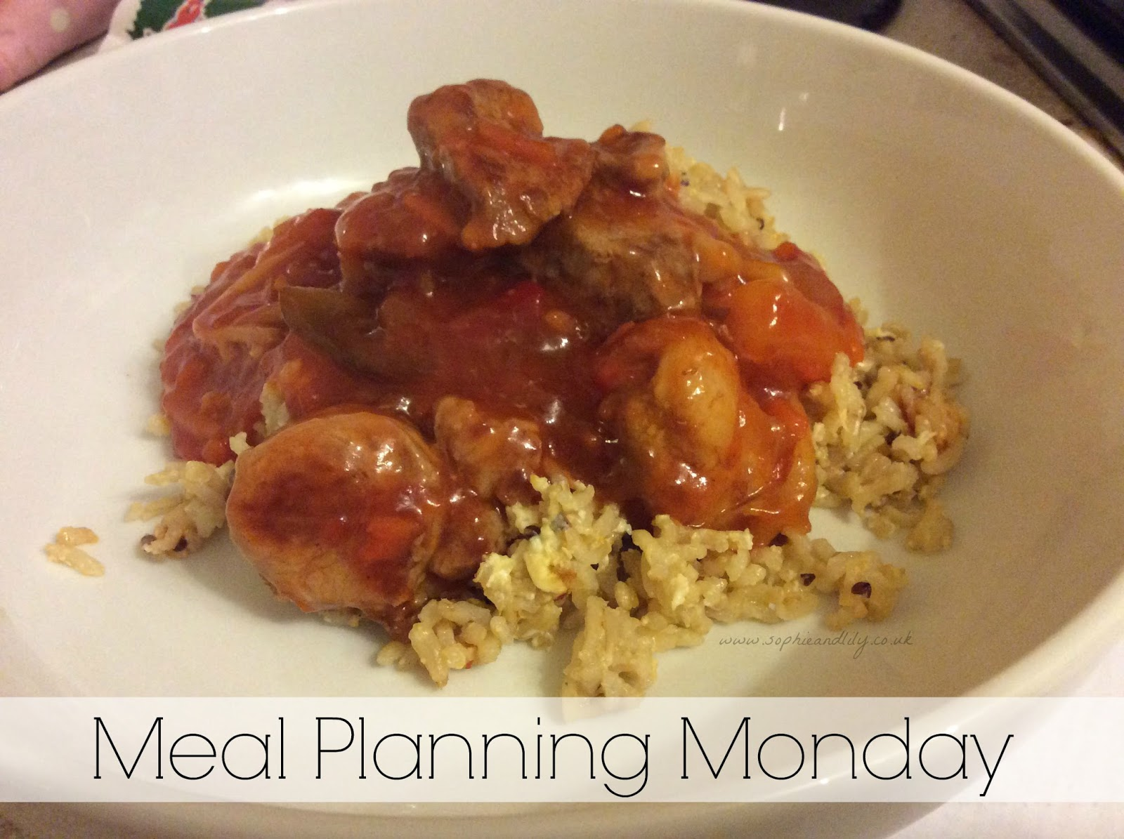 Meal planning Monday example of sweet and sour pork