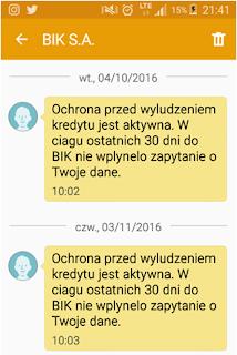 Alert BIK w formie SMS