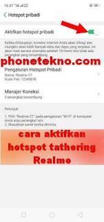 Cara mengaktifkan hotspot pribadi tethering Realme 2