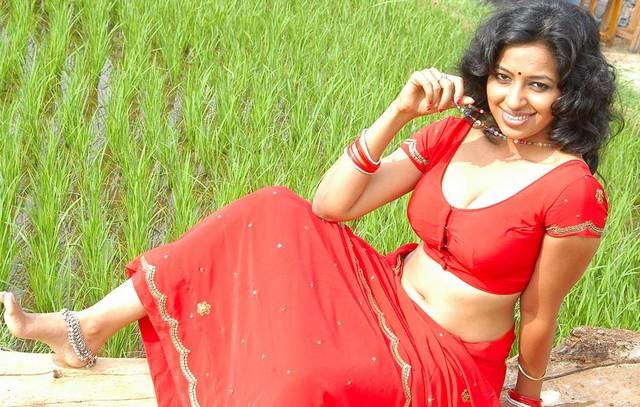 Actress Teertha in Red Saree