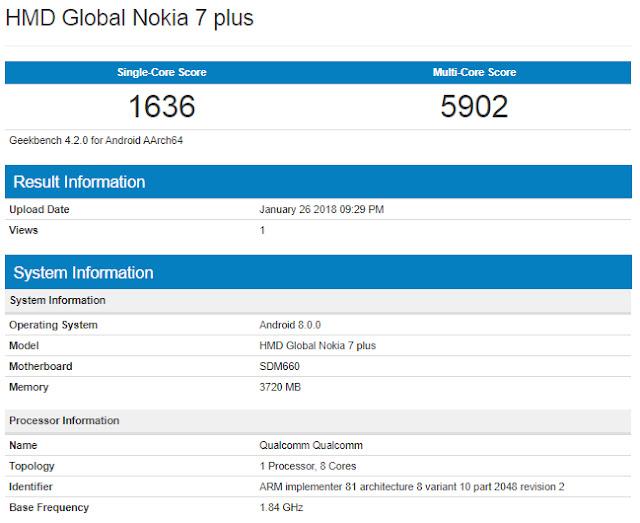 Kebocoran Nokia 7 Plus dengan Prosesor Snapdragon 660 dan Android Oreo