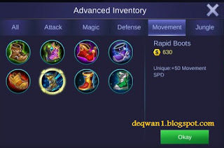 Rapid Boots Saber Mobile Legends