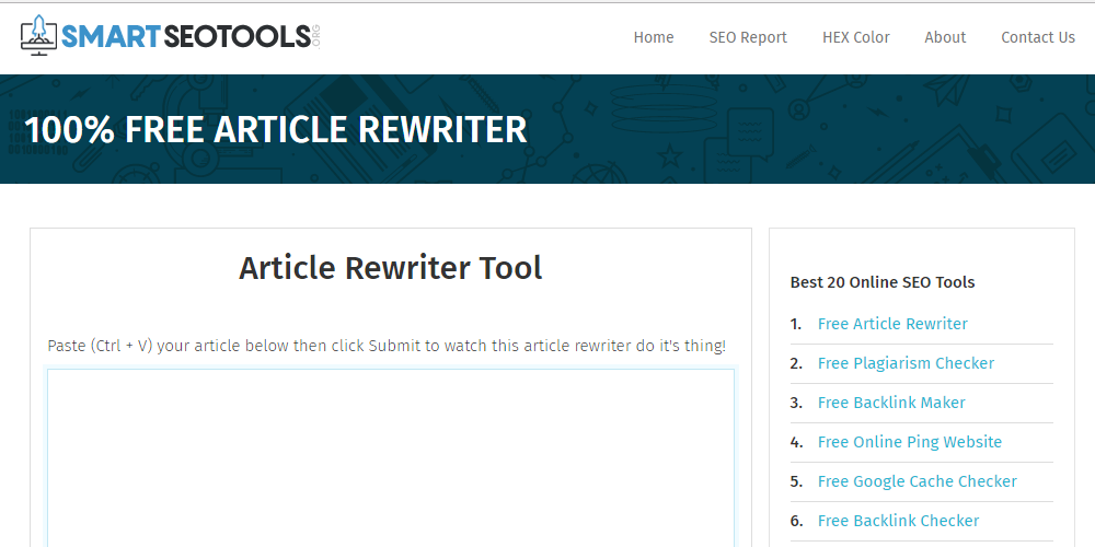 SmartSEOTools.org lets you rewrite the full content in few seconds
