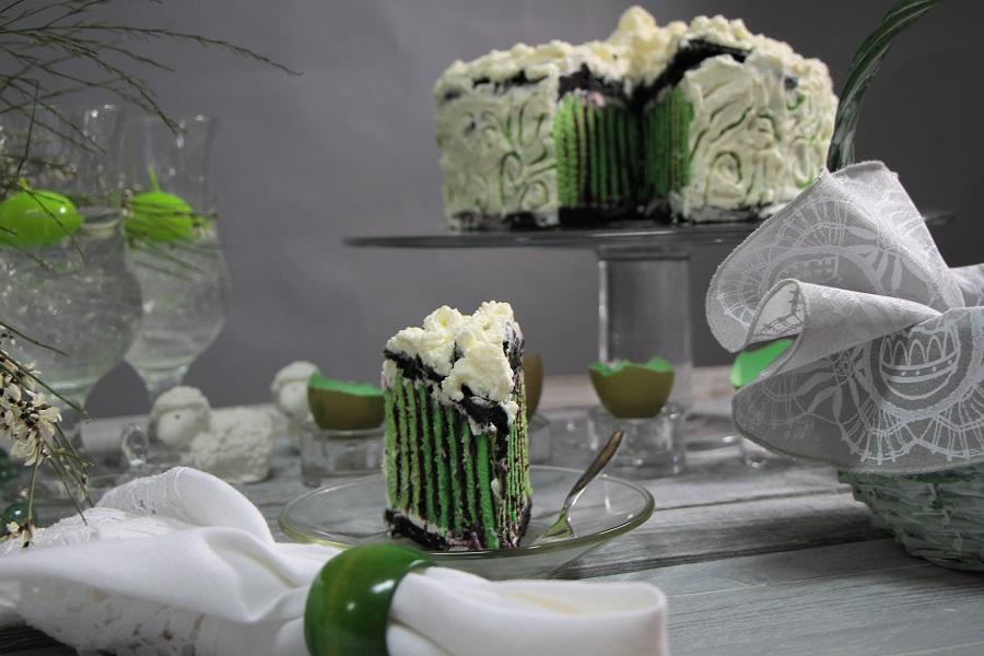 zielono-czarne ciasto