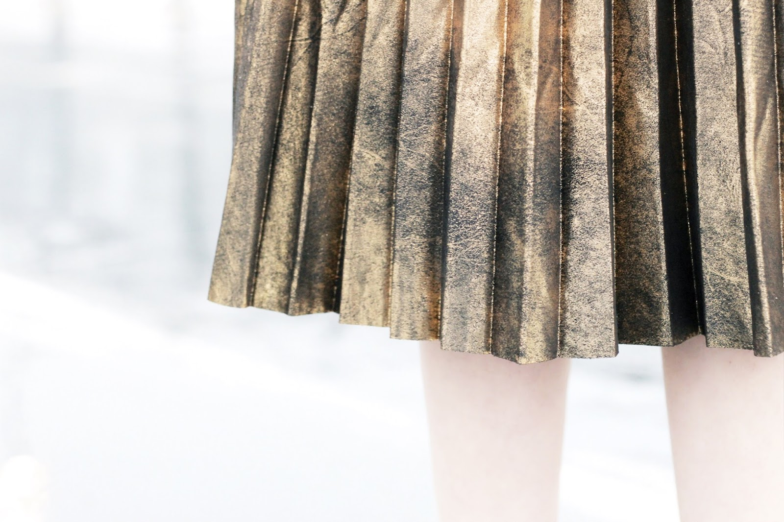 Gold and black pleated midi skirt