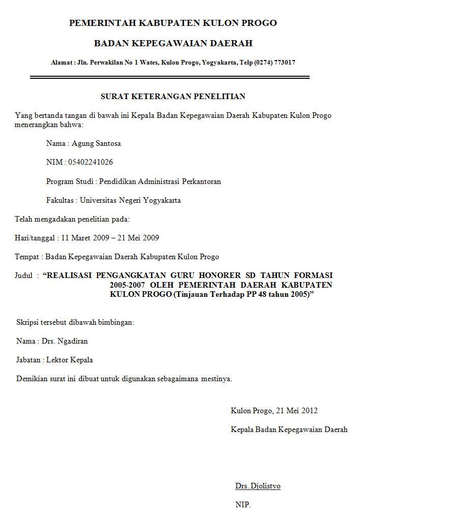 Contoh Surat Keterangan Penelitian