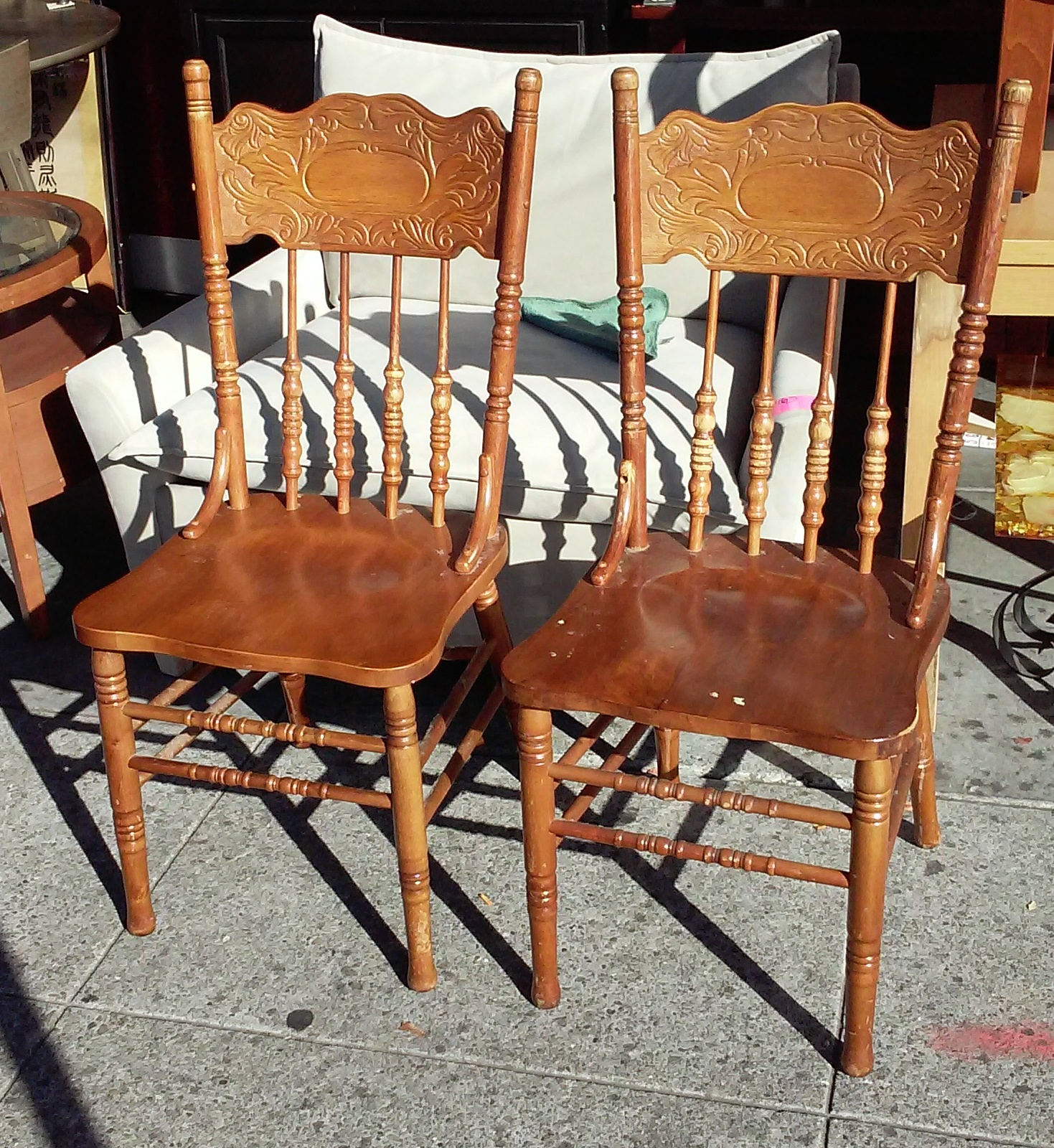 Pressed Back Dining Chairs ~ Uhuru furniture collectibles sold pressed back oak