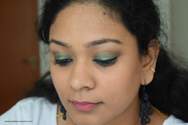 Inglot AMC Shine olive green eyeshadow in shade 44