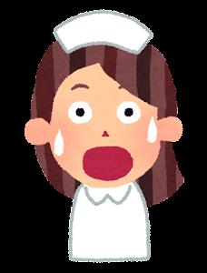 女性看護師の表情のイラスト「驚いた顔」