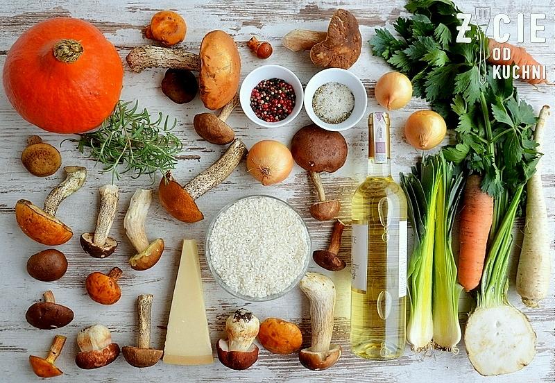 risotto, risotto z grzybami lesnymi, skladniki na risotto z grzybami, grzyby lesne, dynia, ryz, ryz do risotto, ryz arborio, wino biale, zycie od kuchni, rozmaryn, jesienne danie