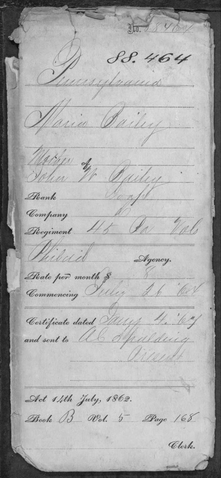 Climbing My Family Tree: Maria Bailey pension granted