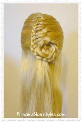 Pretty hairstyle with braided flower, the cornucopia braid