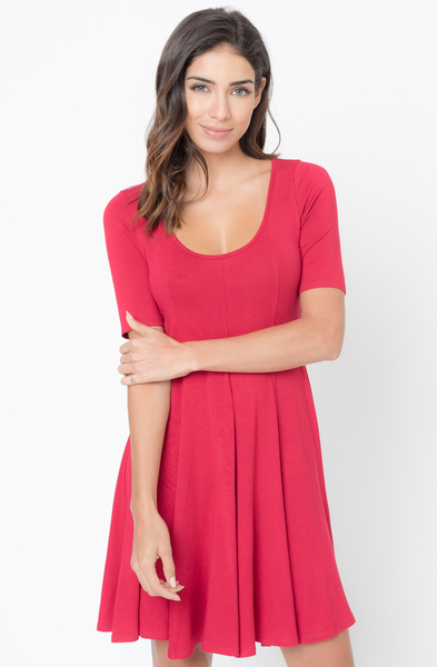 Buy Now Red Paneled Flared Dress Online $34 -@caralase.com