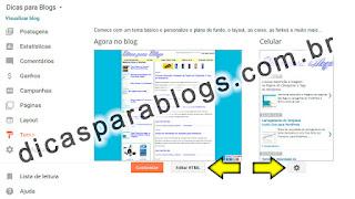 pagina editar html no blogger