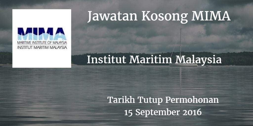 Jawatan Kosong MIMA 15 September 2016