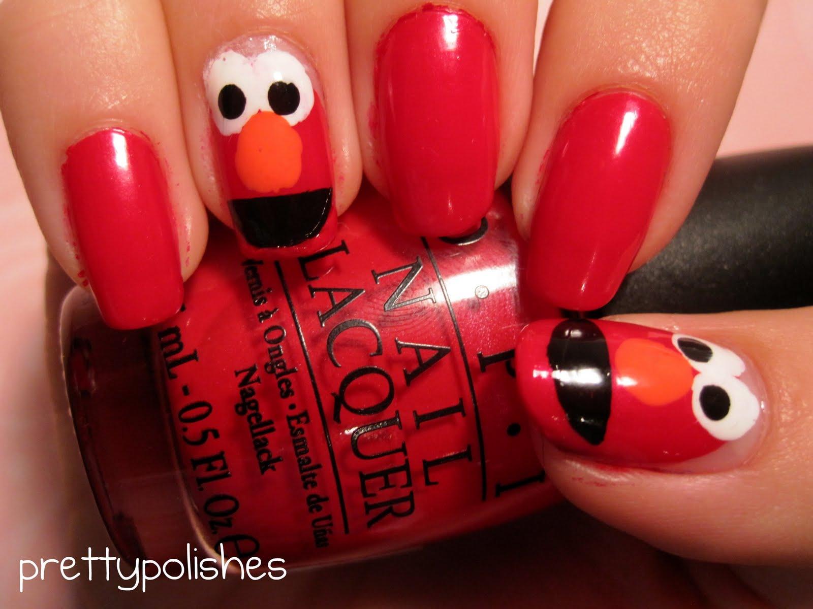 prettypolishes: Elmo Nails!