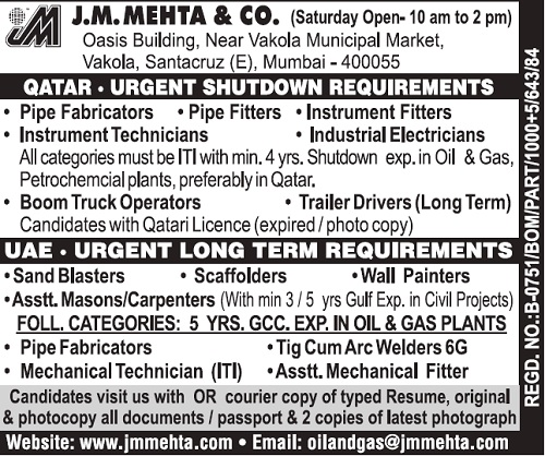 Oil Gas Shutdown Jobs In Qatar Long Term Jobs In Uae J M Mehta Co Job Inbox Gulf Walk In Interviews