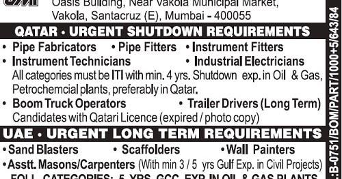 Oil & Gas Shutdown Jobs in Qatar : Long Term Jobs in UAE : J M