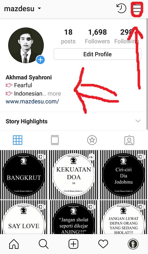 Buka Menu Lainnya di Instagram