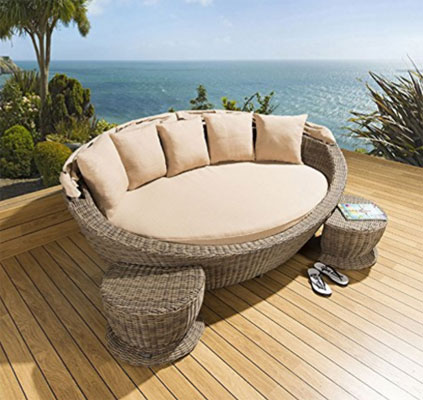 Large Garden Rattan Daybed Mocha/Beige Cushions, stools, canopy, Circular Outdoor Daybeds, Daybeds, Outdoor Daybeds, Outdoor Daybeds With Canopy, Outdoor Furniture, Patio Furniture, Round Outdoor Daybeds, Round Outdoor Daybeds On Sale, Wicker Outdoor Daybeds,