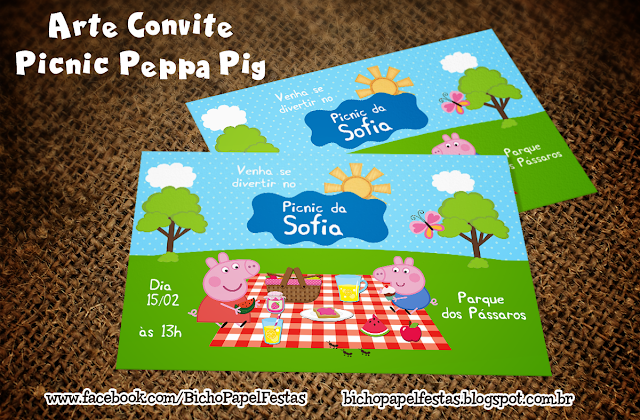 Convite Picnic Peppa Pig piquenique