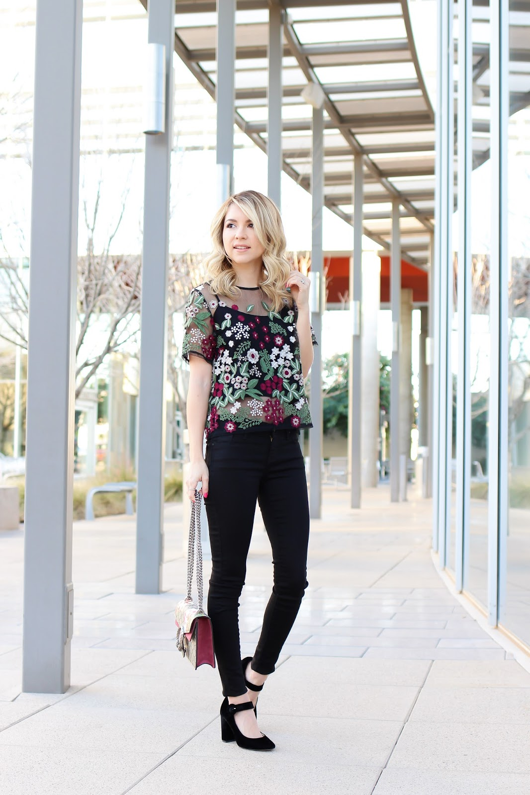 style - simply sutter - lucy paris - dillards - sheer top - spring fashion