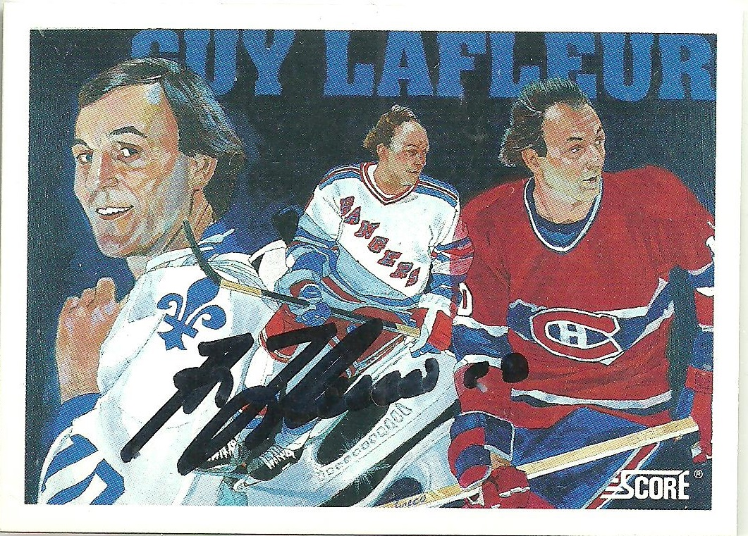 It s card  403 from Score s 1991-92 Score (American) set that shows him in  the Habs  classic bleu-blanc-rouge uniform (right) c62438fa2