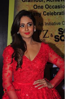 Actress Model Parul Yadav Stills in Red Long Dress at South Scope Lifestyle Awards 2016 Red Carpet  0004.JPG