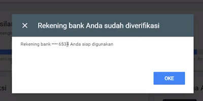 cara verifikasi no rekening di google adsense