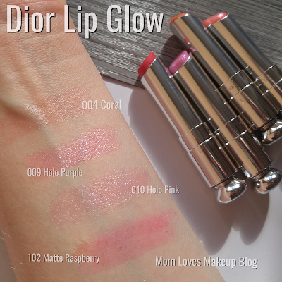 Dior Lip Glow 004 coral 009 holo pink 010 holo purple 102 matte raspberry swatches
