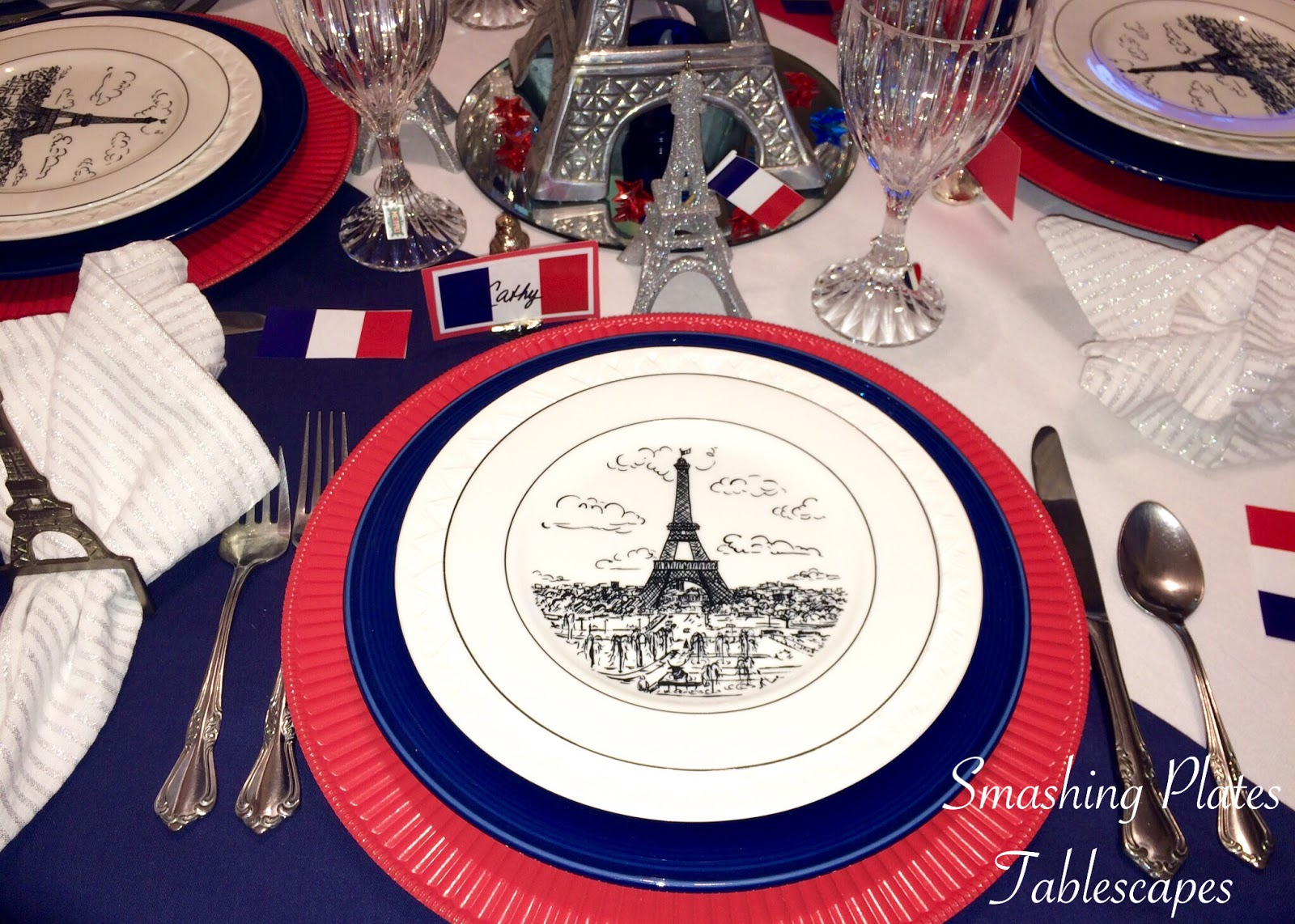 The Eiffel Tower plates are from TJ Maxx many years ago. I also have a smaller set to use as bread plates. & Smashing Plates Tablescapes: Bastille Day