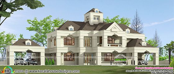 5 bedroom Colonial model luxury Kerala home plan
