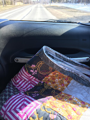 Flaunt on its first road trip - getting the binding finished!
