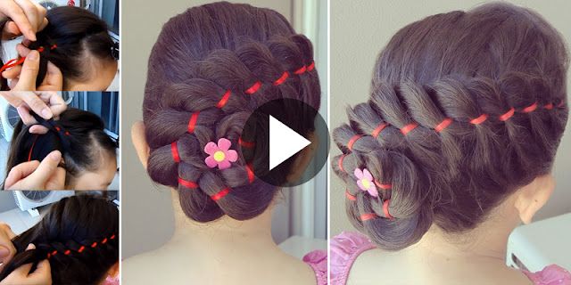 Learn - How To Create Braid 4 Divisions Hairstyle With Ribbons And Flowers