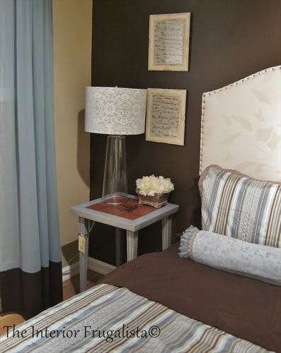 Neoclassical Side Table Makeover in guest bedroom