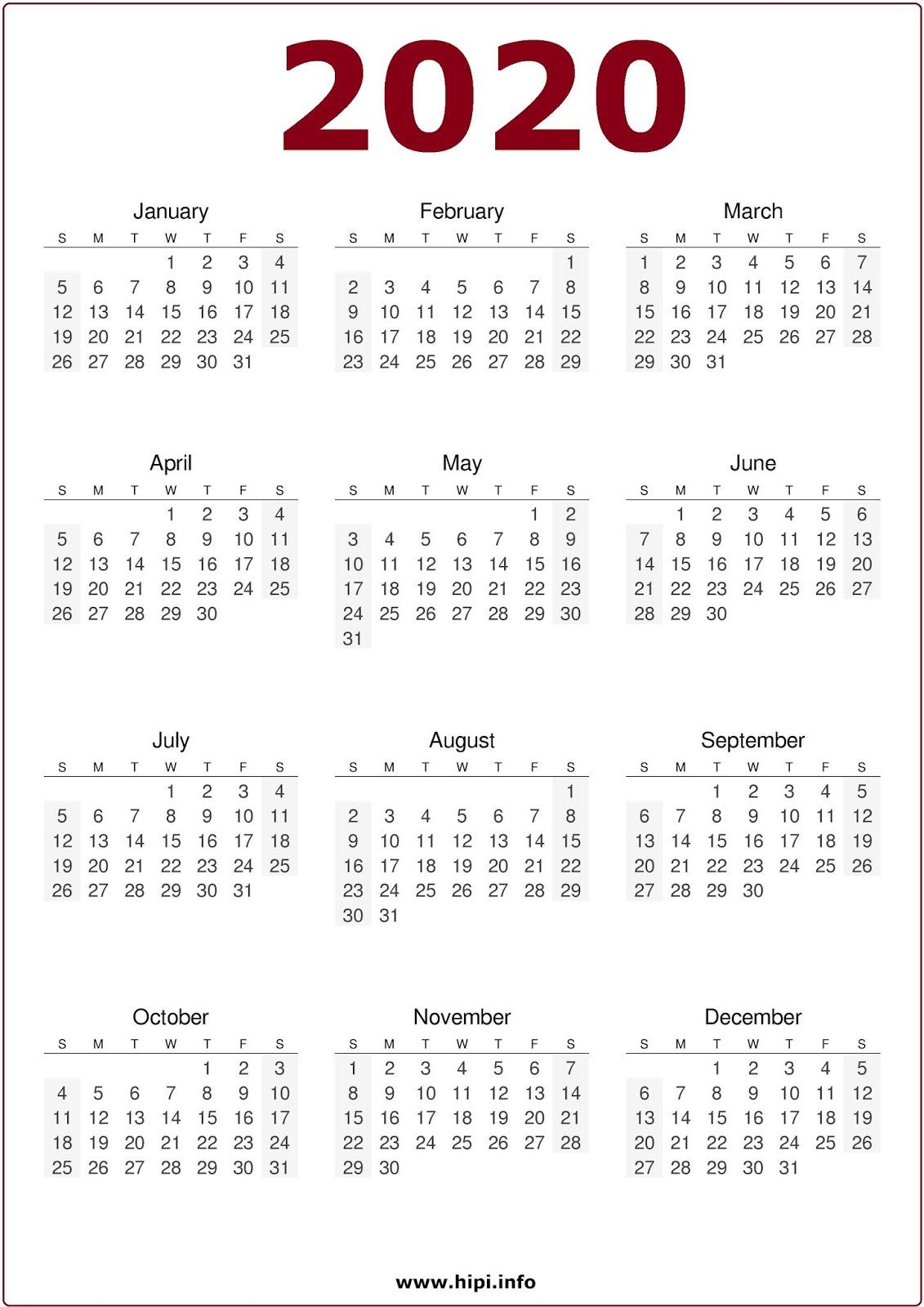 Printable 2020 Calendar One Page.Calendars Printable Twitter Headers Facebook Covers