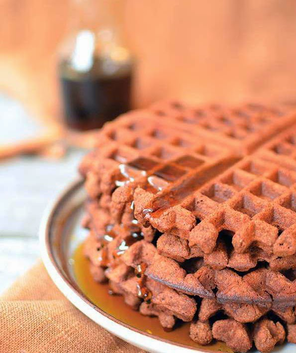 Chocolate Cinnamon Sweet Potato Waffles