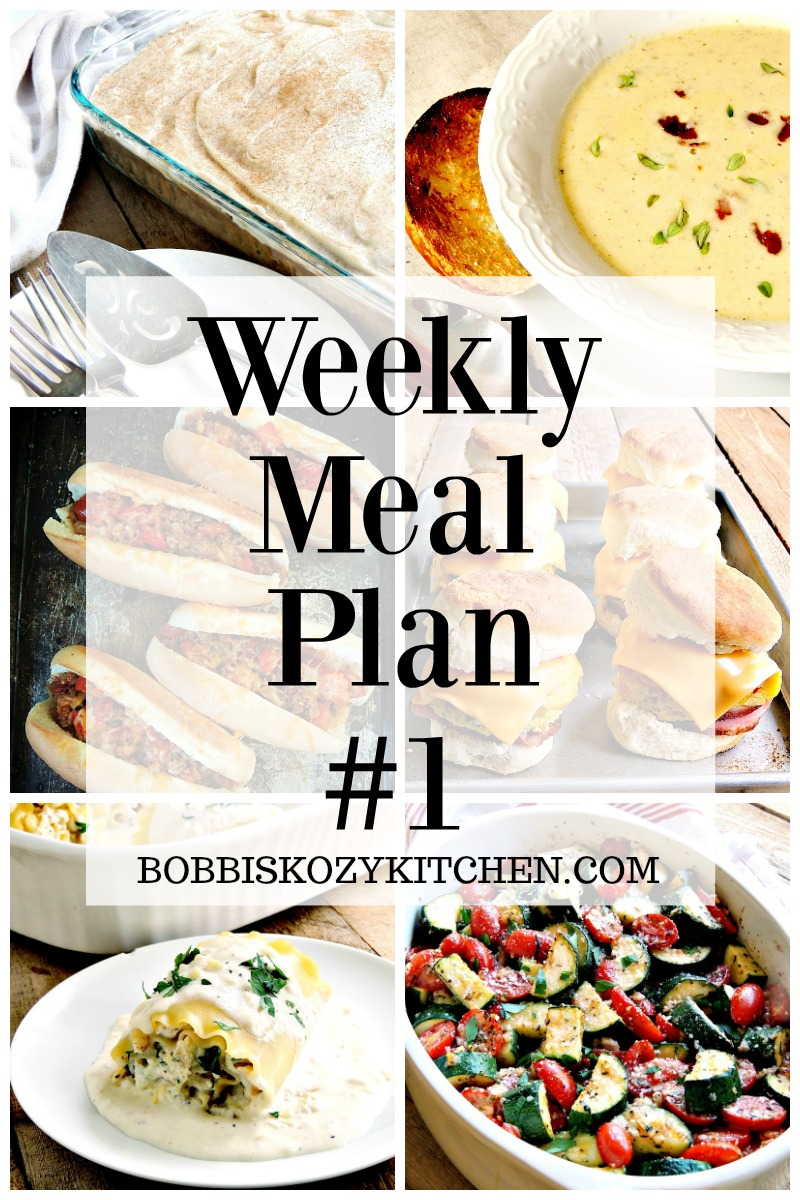 Weekly Meal Plan #1 from www.bobbiskozykitchen