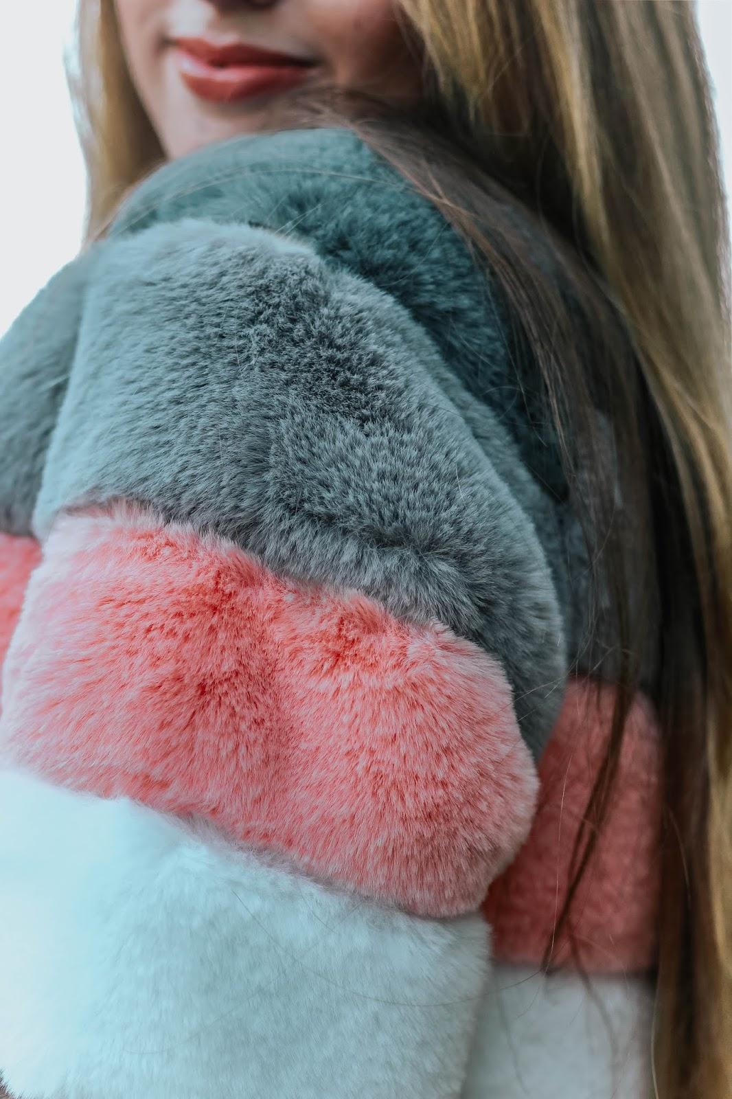 Bandits London Amy Faux Fur Striped Jacket