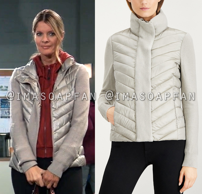 Nina Reeves, Michelle Stafford, Stone Grey Sweater-Trim Puffer Coat, General Hospital, GH