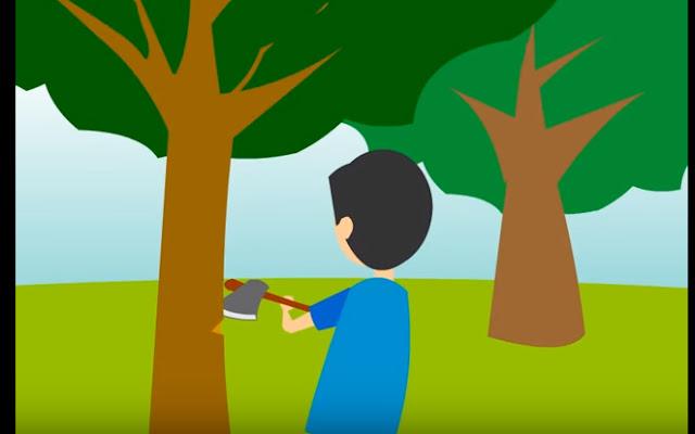 Gambar - Menebang pohon dengan kapak