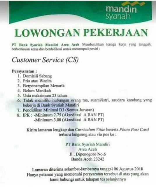 Lowongan Kerja Customer Service Di Bank Syariah Mandiri Aceh Medan