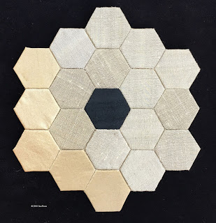 JWST, Sue Reno, Work in Progress, pieced silk mirror